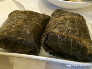 Lo Mai Gai- Sticky rice with meat wrap in lotus leaf